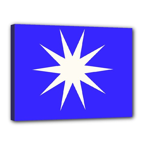 Deep Blue And White Star Canvas 16  X 12  (framed)