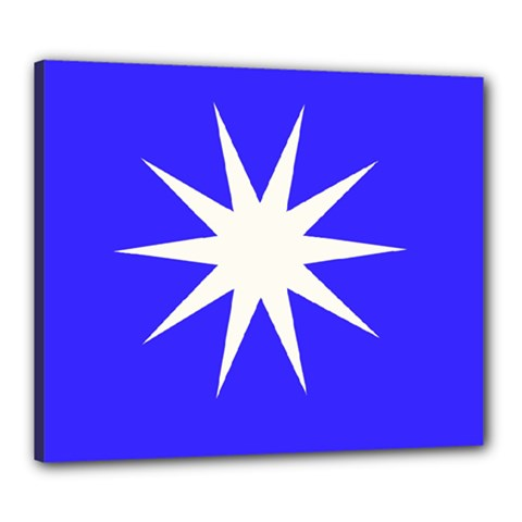 Deep Blue And White Star Canvas 24  x 20  (Framed)