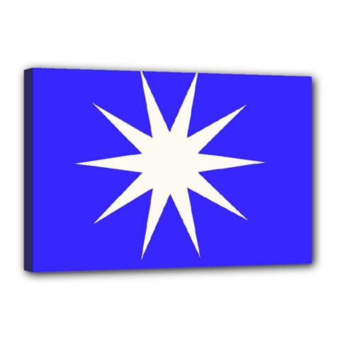 Deep Blue And White Star Canvas 18  x 12  (Framed)