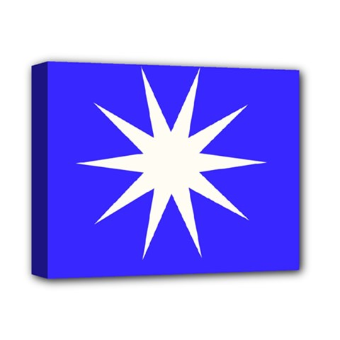 Deep Blue And White Star Deluxe Canvas 14  x 11  (Framed)