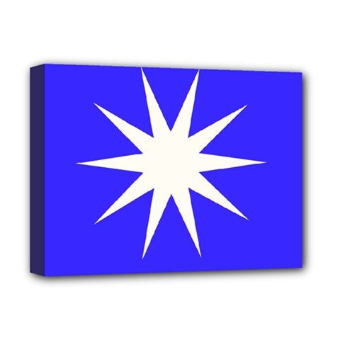 Deep Blue And White Star Deluxe Canvas 16  x 12  (Framed)