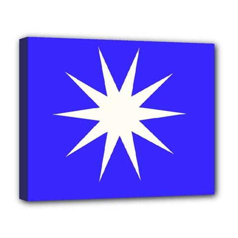 Deep Blue And White Star Deluxe Canvas 20  x 16  (Framed)