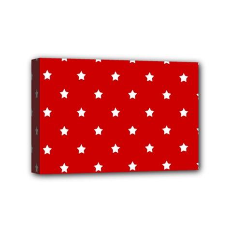 White Stars On Red Mini Canvas 6  x 4  (Framed)