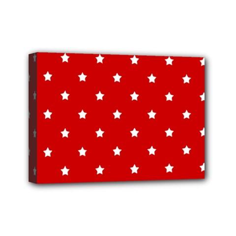White Stars On Red Mini Canvas 7  x 5  (Framed)