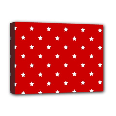 White Stars On Red Deluxe Canvas 16  X 12  (framed)