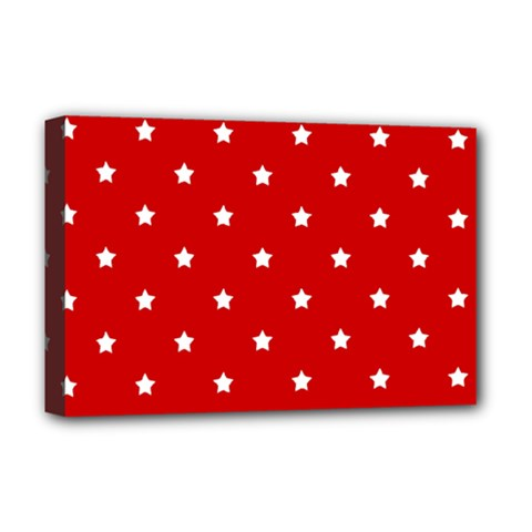 White Stars On Red Deluxe Canvas 18  x 12  (Framed)