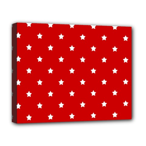 White Stars On Red Deluxe Canvas 20  x 16  (Framed)