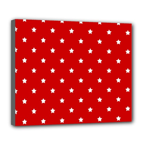 White Stars On Red Deluxe Canvas 24  x 20  (Framed)