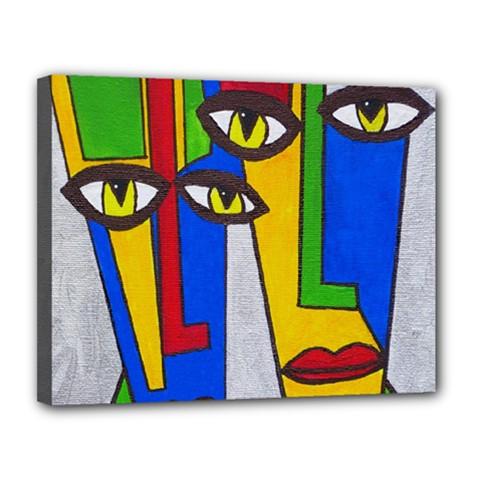 Face Canvas 14  x 11  (Framed)
