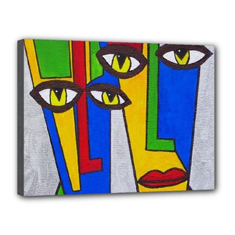 Face Canvas 16  x 12  (Framed)