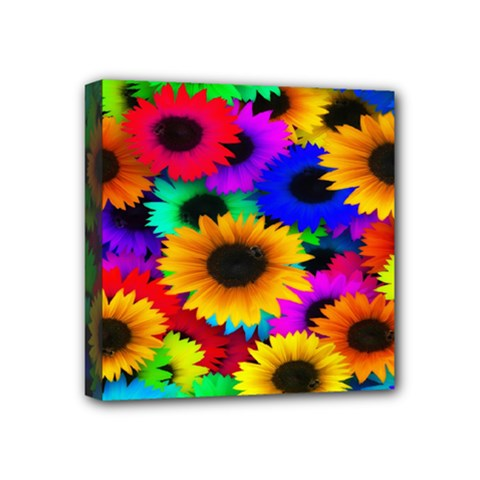 Colorful Sunflowers Mini Canvas 4  x 4  (Framed)