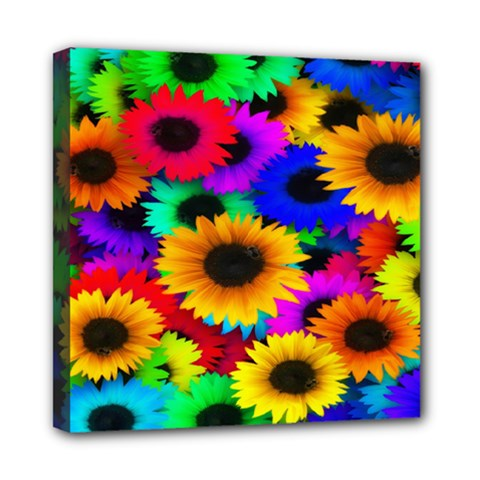 Colorful Sunflowers Mini Canvas 8  x 8  (Framed)