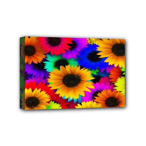 Colorful Sunflowers Mini Canvas 6  X 4  (framed)