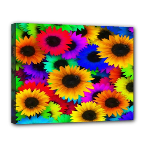 Colorful Sunflowers Canvas 14  x 11  (Framed)