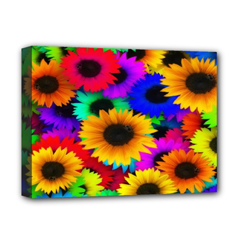 Colorful Sunflowers Deluxe Canvas 16  X 12  (framed)