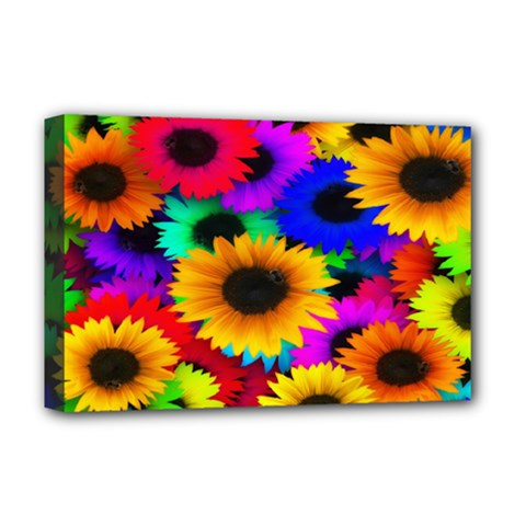 Colorful Sunflowers Deluxe Canvas 18  x 12  (Framed)