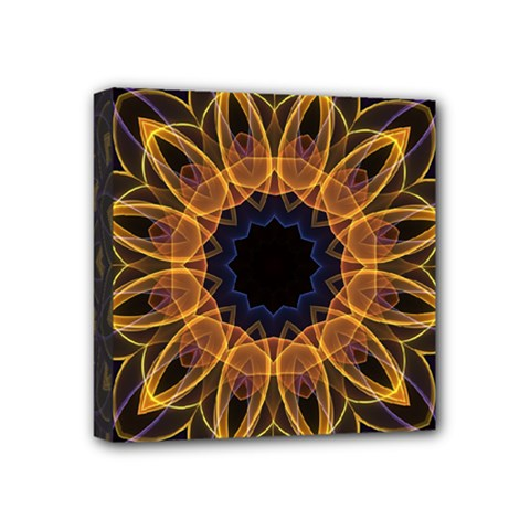 Yellow Purple Lotus Mandala Mini Canvas 4  x 4  (Framed)