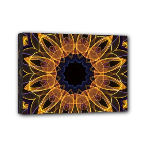 Yellow Purple Lotus Mandala Mini Canvas 7  X 5  (framed)