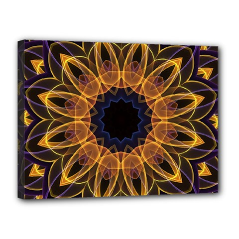 Yellow Purple Lotus Mandala Canvas 16  x 12  (Framed)