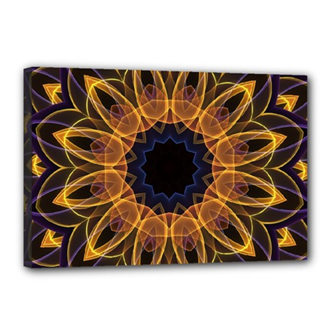 Yellow Purple Lotus Mandala Canvas 18  x 12  (Framed)