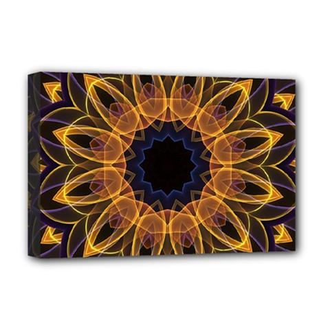 Yellow Purple Lotus Mandala Deluxe Canvas 18  X 12  (framed)