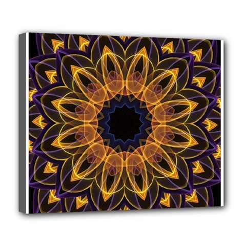 Yellow Purple Lotus Mandala Deluxe Canvas 24  X 20  (framed)