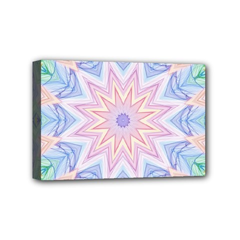Soft Rainbow Star Mandala Mini Canvas 6  X 4  (framed)