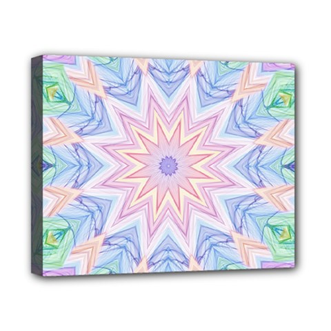 Soft Rainbow Star Mandala Canvas 10  X 8  (framed)