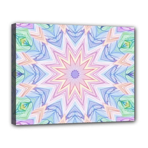 Soft Rainbow Star Mandala Canvas 14  x 11  (Framed)