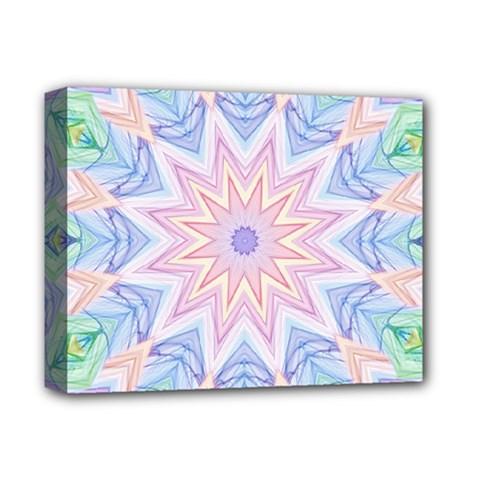 Soft Rainbow Star Mandala Deluxe Canvas 14  X 11  (framed)