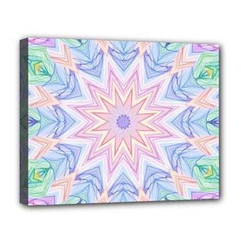 Soft Rainbow Star Mandala Deluxe Canvas 20  X 16  (framed)