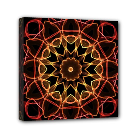 Yellow And Red Mandala Mini Canvas 6  x 6  (Framed)