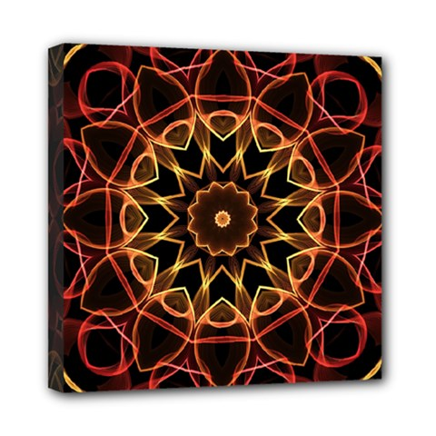 Yellow And Red Mandala Mini Canvas 8  X 8  (framed)