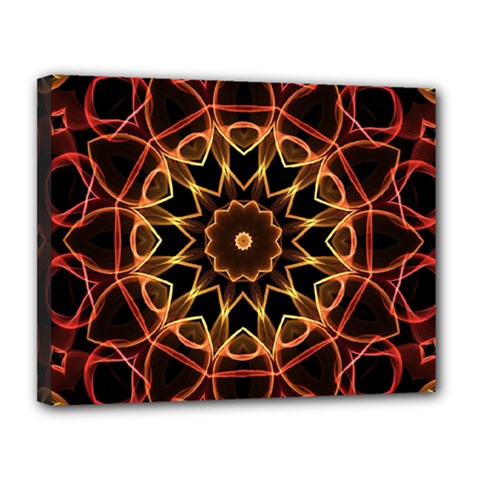 Yellow And Red Mandala Canvas 14  x 11  (Framed)
