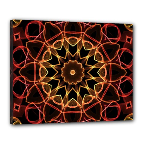 Yellow And Red Mandala Canvas 20  x 16  (Framed)