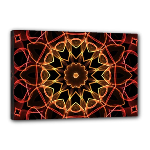 Yellow And Red Mandala Canvas 18  x 12  (Framed)