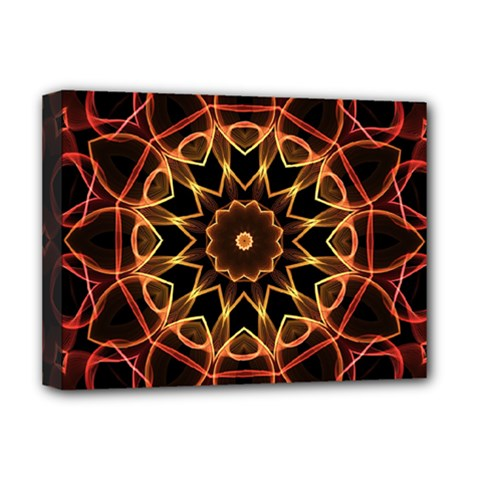 Yellow And Red Mandala Deluxe Canvas 16  X 12  (framed)