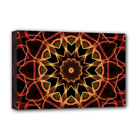 Yellow And Red Mandala Deluxe Canvas 18  x 12  (Framed)