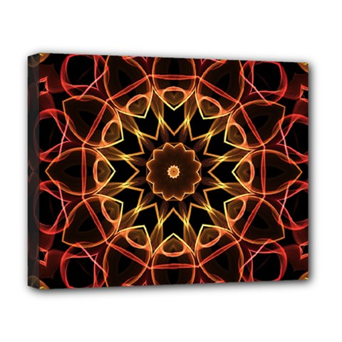 Yellow And Red Mandala Deluxe Canvas 20  X 16  (framed)