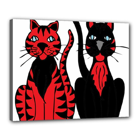 Cool Cats Canvas 20  X 16  (framed)
