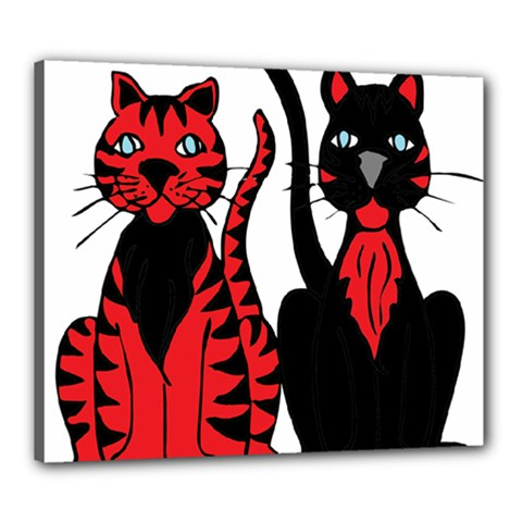 Cool Cats Canvas 24  x 20  (Framed)