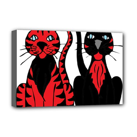 Cool Cats Deluxe Canvas 18  x 12  (Framed)