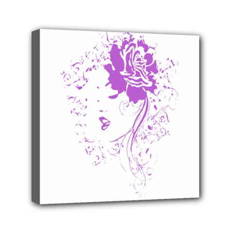 Purple Woman Of Chronic Pain Mini Canvas 6  X 6  (framed)