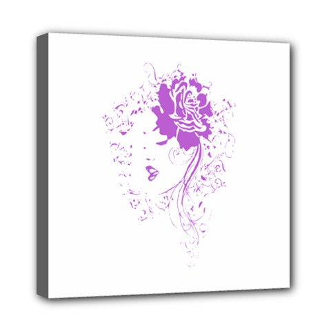 Purple Woman of Chronic Pain Mini Canvas 8  x 8  (Framed)