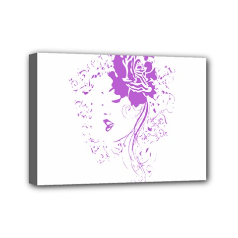 Purple Woman of Chronic Pain Mini Canvas 7  x 5  (Framed)