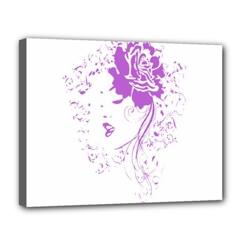 Purple Woman of Chronic Pain Canvas 14  x 11  (Framed)