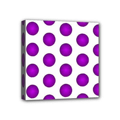Purple And White Polka Dots Mini Canvas 4  X 4  (framed)