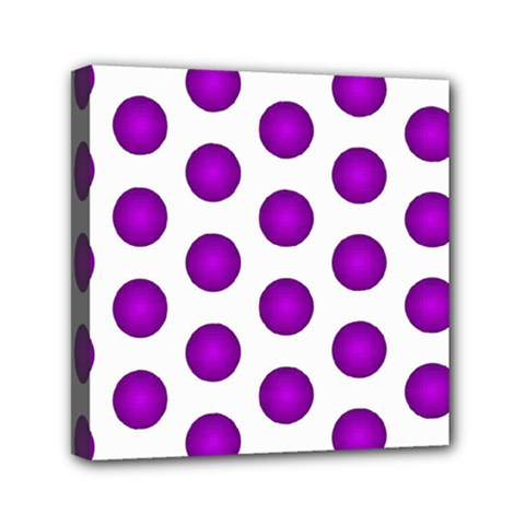 Purple And White Polka Dots Mini Canvas 6  x 6  (Framed)