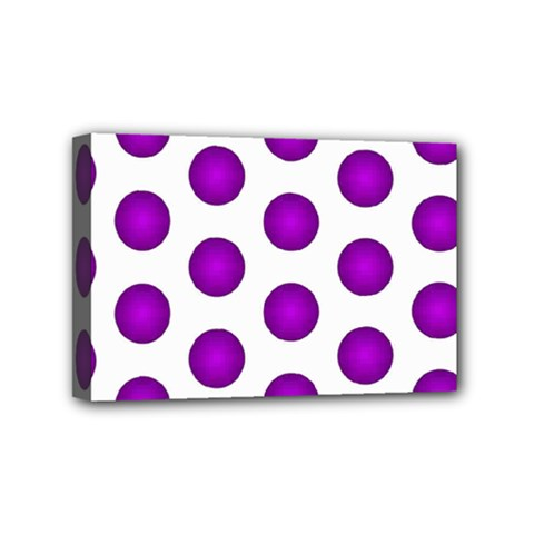 Purple And White Polka Dots Mini Canvas 6  x 4  (Framed)