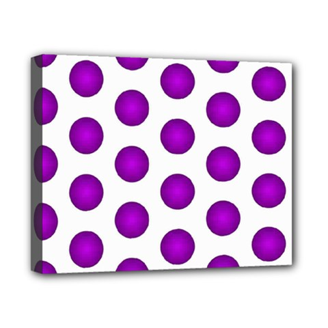 Purple And White Polka Dots Canvas 10  x 8  (Framed)